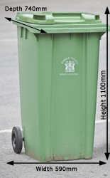 Green bin with dimensions